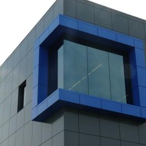 13,925 sq.ft. Alpolic BGY Grey, 1,444 sq.ft. Alpolic MBU Blue